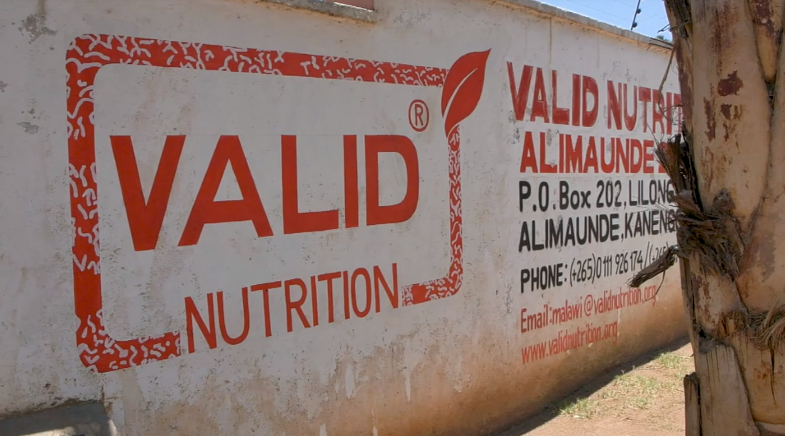 Sign at Valid Nutrition food company in Malawi